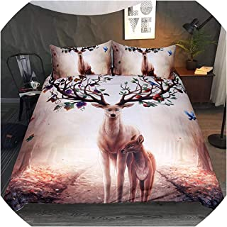 Bedspreads 3D Deer Comforter Bedding Set Single Queen King Twin Size Bedclothes Duvet Cover Double 3Pcs Bed Sheet Cover Quilts,UK Small