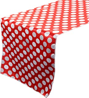 Your Chair Covers - 14 x 108 inch Satin Table Runner Red/White Polka Dots, Table Runner for Weddings, Events, Hotels and Catering Services