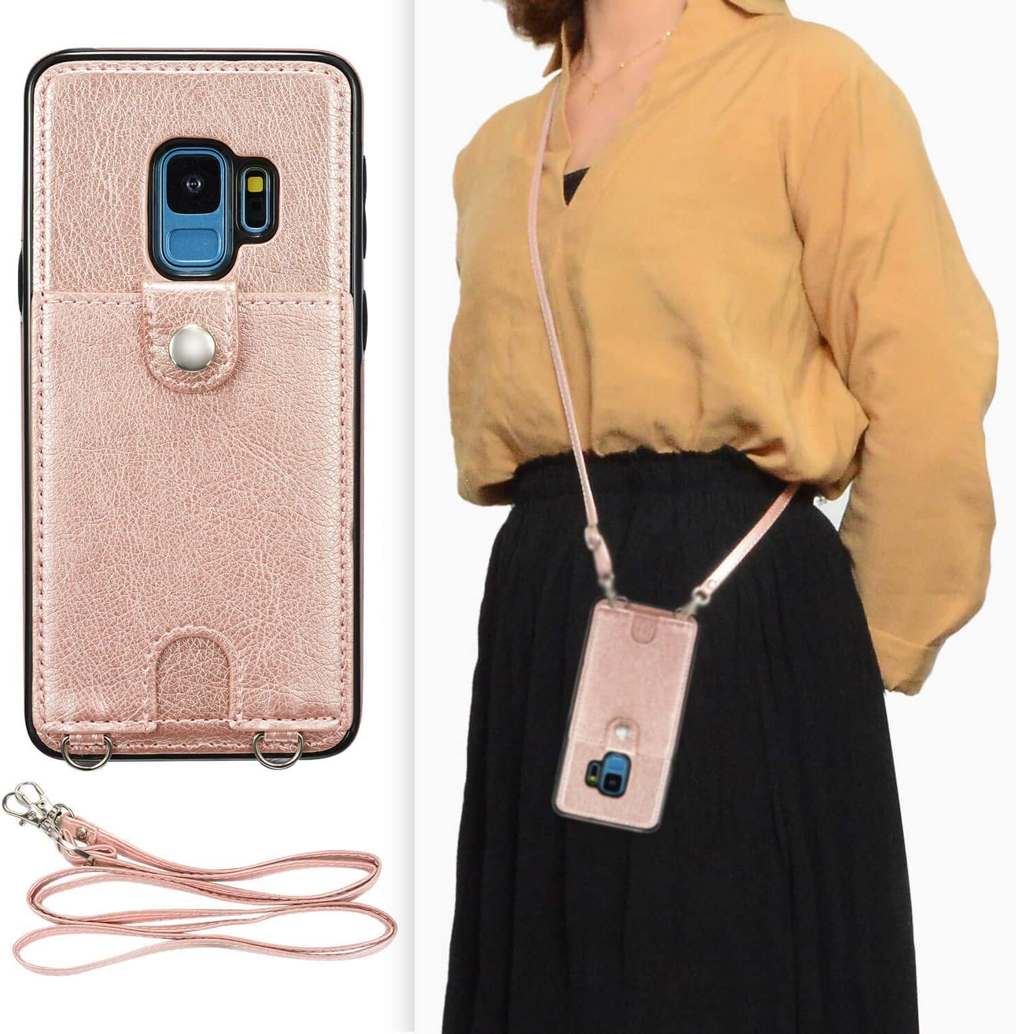 DEFBSC Samsung Galaxy S9 Crossbody Wallet Case,Premium Leather Case with Detachable Adjustable Crossbody Strap and Credit Card Slots for Samsung Galaxy S9 5.8 Inch-Rose Gold