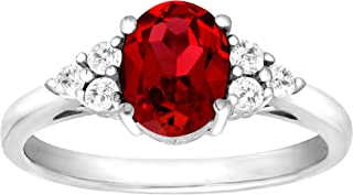 1 7/8 ct Oval-Cut Created Ruby and Natural White Topaz Ring in Sterling Silver Size 7