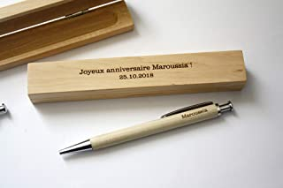 Stylo personnalisé et boîte gravée en bois, gravure sur mesure avec votre texte, stylo bois et métal argenté. Cadeau perso...