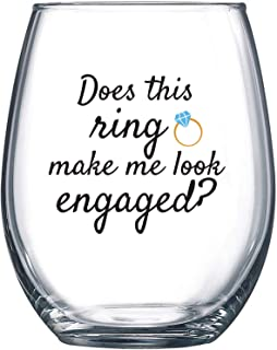 Best Does This Ring Make Me Look Engaged - Funny Wine Glass 15oz - Engagement Gift, Great Gift for Fiance, Wedding Gift Idea, Bridal Shower Gifts - Evening Mug Review