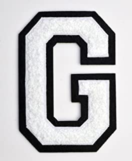 Varsity Letter Patches - White Embroidered Chenille Letterman Patch - 4 1/2 inch Iron-On Letter Initials (White, Letter G Patch)