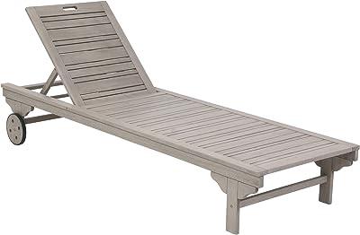 """greemotion Silla plegable """"MAUI"""" con respaldo y asiento cómodo para jardín, terraza y patio, Madera de acacia,58/83/56 cm, gris"""