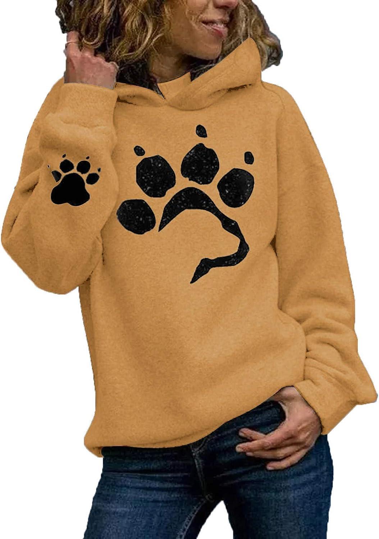 Women Cat Print Hoodie Hood Animal Printing Long Sleeves Pullover Sweatshirt Tops