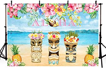 MEHOFOTO Summer Aloha Birthday Backdrop Beach Sea Tropical Hawaiian Luau Party Baby Shower Pineapple Pink Floral Background for Photography Photo Booth Banner