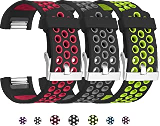 SKYLET Compatible with Fitbit Charge 2 Bands, 3 Pack Breathable Silicone Replacement Sport Wristbands Compatible with Fitbit Charge 2 with Secure Watch Clasp Men Women Large Small
