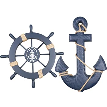 """Meching 2 Pack 11"""" Nautical Beach Wooden Ship Wheel and 13"""" Wood Anchor with Rope Nautical Boat Steering Rudder Wall Decor Door Hanging Ornament Beach Theme Home Decoration(Dark Blue)"""