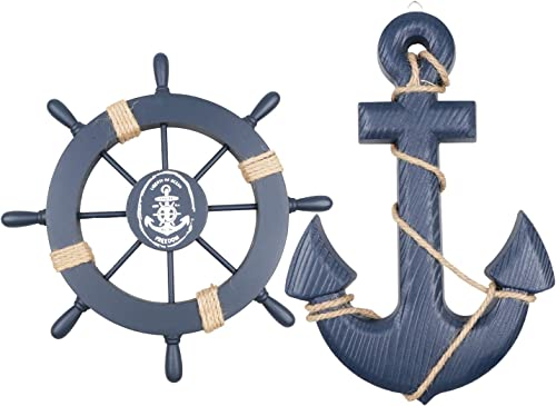 Fangoo 2 Pack 28 CM Rueda de Barco de Madera y 33 CM Ancla de Madera con Cuerda Barco náutico Dirección Timón Decorac...