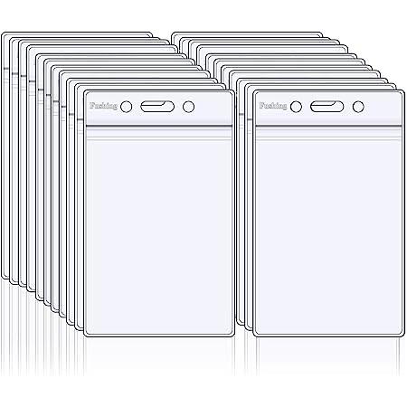 Fushing Lot de 50 badges en plastique transparent Vertical de cartes de supports, étiquette pour nom, Petit claire