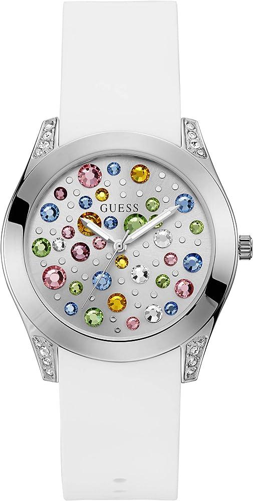 Guess orologio analogico al quarzo per donna, con cinturino in silicone e cassa in acciaio inossidabile W1059L1