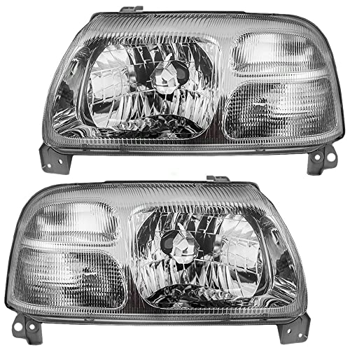 Pair Set Halogen Combination Headlights Headlamps w/Chrome Bezel Replacement fits Suzuki Grand Vitara XL