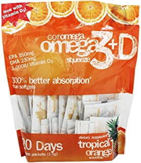 Coromega Omega3 Squeeze with Vitamin D3, Tropical Orange, 240 Packets