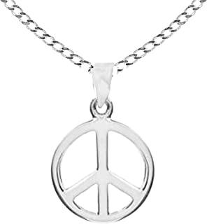 Ritastephens Sterling Silver Small or Large Peace Sign Pendant with Cable or Curb Chain Necklace