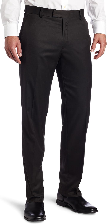 Kenneth Cole REACTION Men's Mini Herringbone Straight Fit Flat Front Dress Pant