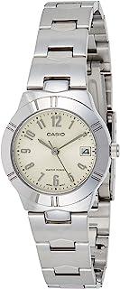 ساعة كوارتز نسائية من كاسيو، بشاشة عرض تناظرية وحزام من الفولاذ المقاوم للصدأ