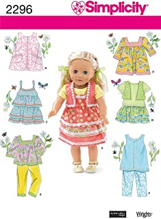 Simplicity Dress, Skirt, and Shirt Doll Clothes Sewing Pattern for 18'' Dolls