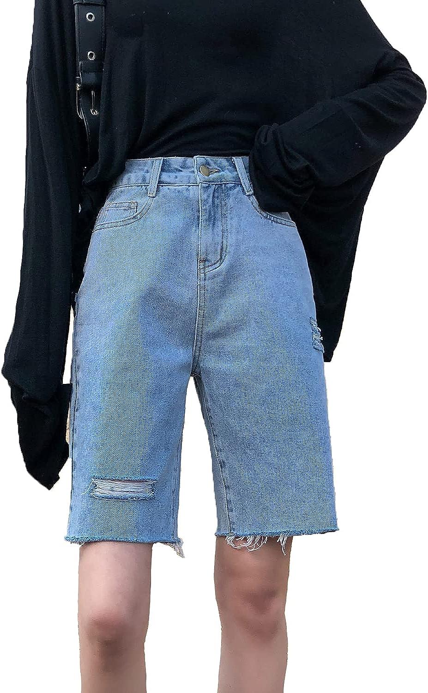 Kirnapci Women Casual Denim Shorts High Waist Ripped Hole Fringe Beach Summer Short Jeans