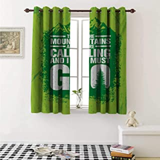 shenglv Adventure Decorative Curtains for Living Room Grungy Display Mountains and Retro Letters Call of The Woods Curtains Kids Room W72 x L72 Inch Lime Green Fern Green White