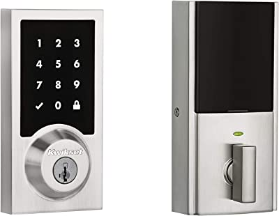 Kwikset 99190-003 Contemporary Premis Touchscreen Keyless Entry Smart Deadbolt Door Lock Works with Apple HomeKit Featuring SmartKey Security, Satin Nickel