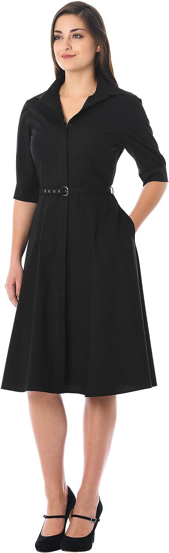 10+ Websites with 1940s Dresses for Sale eShakti FX Cotton poplin Belted Shirtdress - Customizable Neckline Sleeve & Length  AT vintagedancer.com