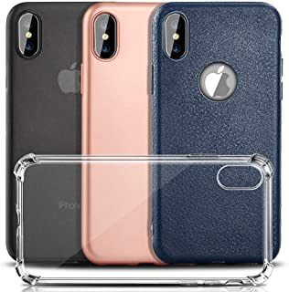 COOLQO [4-Pack] Compatible for iPhone Xs Max Case 6.5 inch, [Ultra-Thin PP] [Slim Leather] [Matte Finish Coating Plastic Hard] [Clear Soft TPU 4-Corner Shockproof] Phone Protective Cover & Skin
