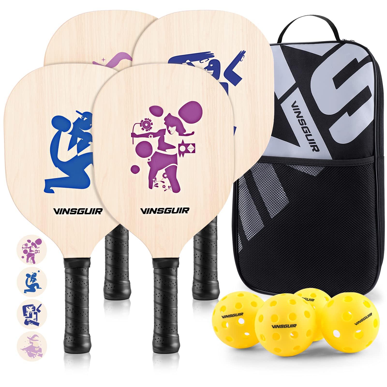 VINSGUIR Pickleball Set with 4 Rackets and 4 Balls Picklebal