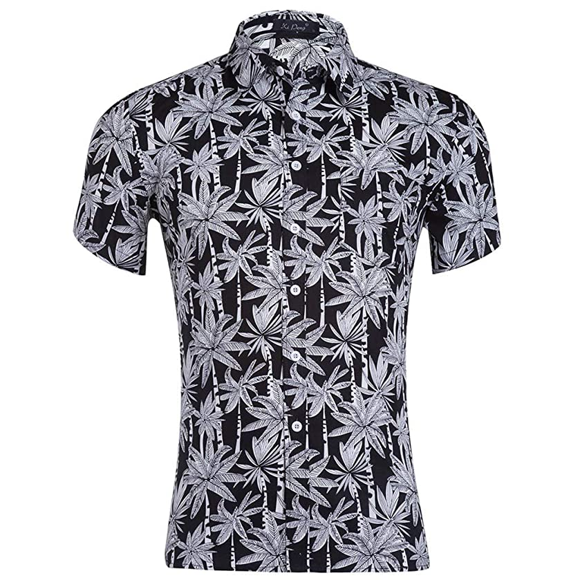 MURTIAL Men's Shirt Summer Print Turn-Down Collar Slim Fit Short Sleeve Top Blouse