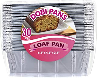 DOBI [30 Pack - 2 LB.] Loaf Pans - Disposable Aluminum Foil Bread Pans, Standard Size - 8.5
