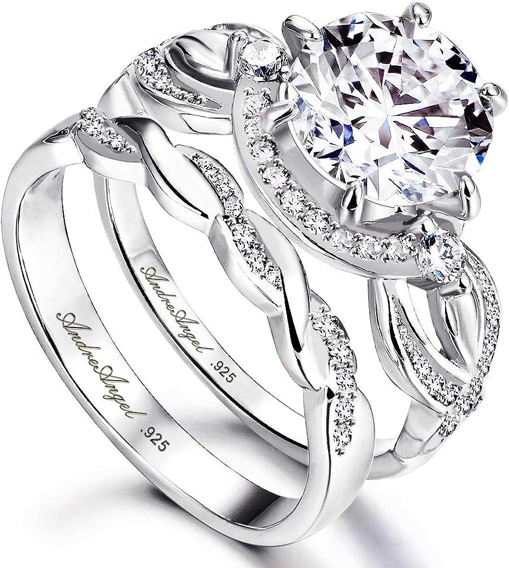 Engagement Ring Regular discount Set Women Wedding Silver Solid Genuine 925 Sterling Rhod