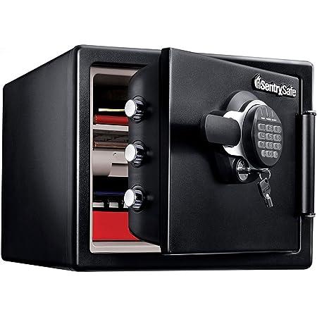 SENTRY (セントリー) 1時間耐火・耐水金庫 22.8L A4ファイル テンキー式 ダブルロック 鍵2本付き ブラック 2年保証 JFW082GUL