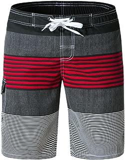 Men's Loose Stripe Printed Beach Shorts Swim Trunks 9 Inch Inseam