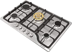 METAWELL 30inch 5 Burner Built-in Stainless Steel Cooktop NG Gas Hob Stoves Cooker