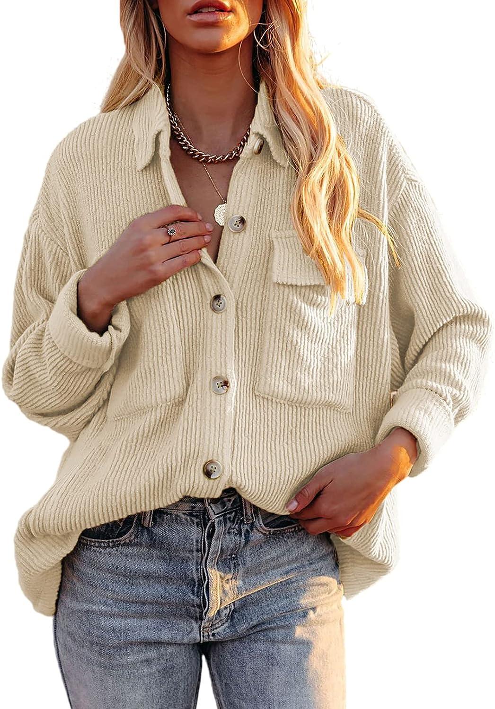 Dokotoo Womens Corduroy Long Sleeve Button Down Shirts Casual Jacket Tops Shacket