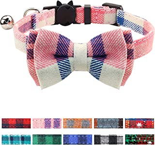 Joytale Breakaway Cat Collar with Bow Tie and Bell, Cute Plaid Patterns, 1or 2 Pack Kitty Safety Collars