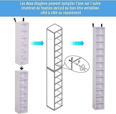 HOMCOM Lot de 2 étagères colonnes Armoire de Rangement CD-DVD 6 + 6 Compartiments dim. 21L x 19l x 88H cm capacité Max. 204 C