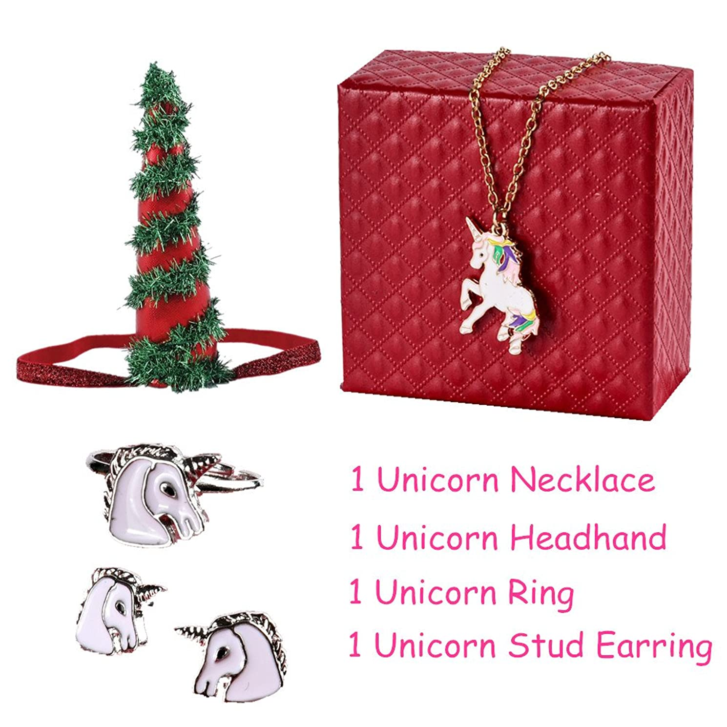 PinkSheep Unicorn Necklace Stud Earrings Ring Sets for Little Girls Women