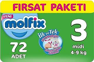 Molfix 3D Bebek Bezi Midi 3 Beden, Fırsat Paketi 72 Adet