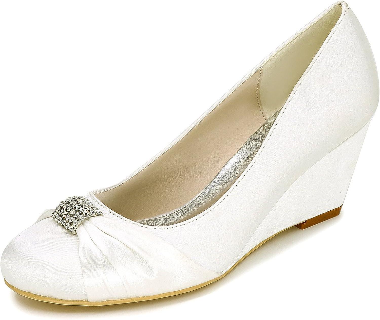 Elobaby Frauen Hochzeit Schuhe Schnalle TF-452 Closed Toe Ktzchen Heels Smart Formal Klassische High Heels   6,5 cm Ferse
