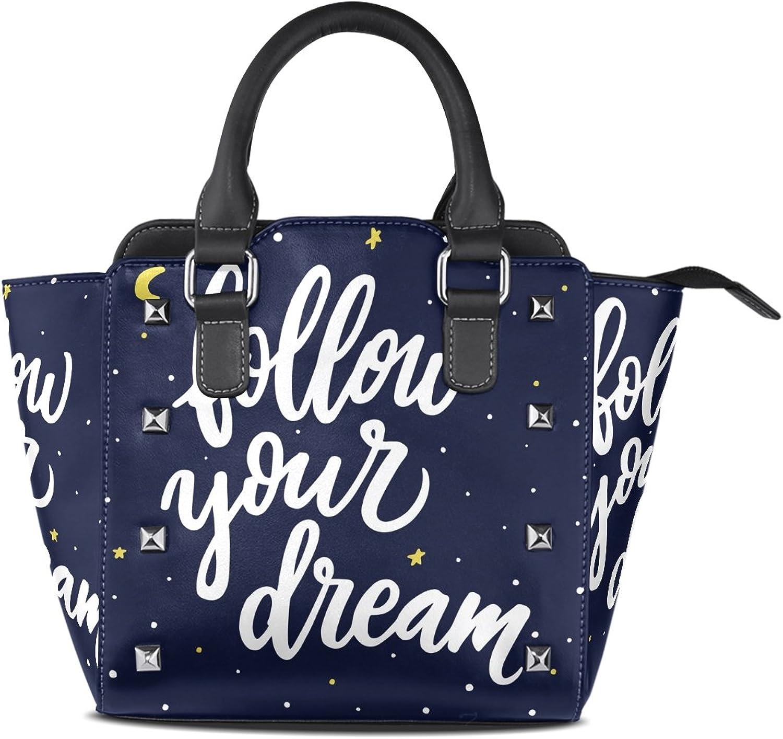 My Little Nest Women's Top Handle Satchel Handbag Follow Your Dream Starry Ladies PU Leather Shoulder Bag Crossbody Bag