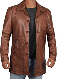 Distressed Brown Leather Jacket Men - Genuine Lambskin Leather Coats for Men