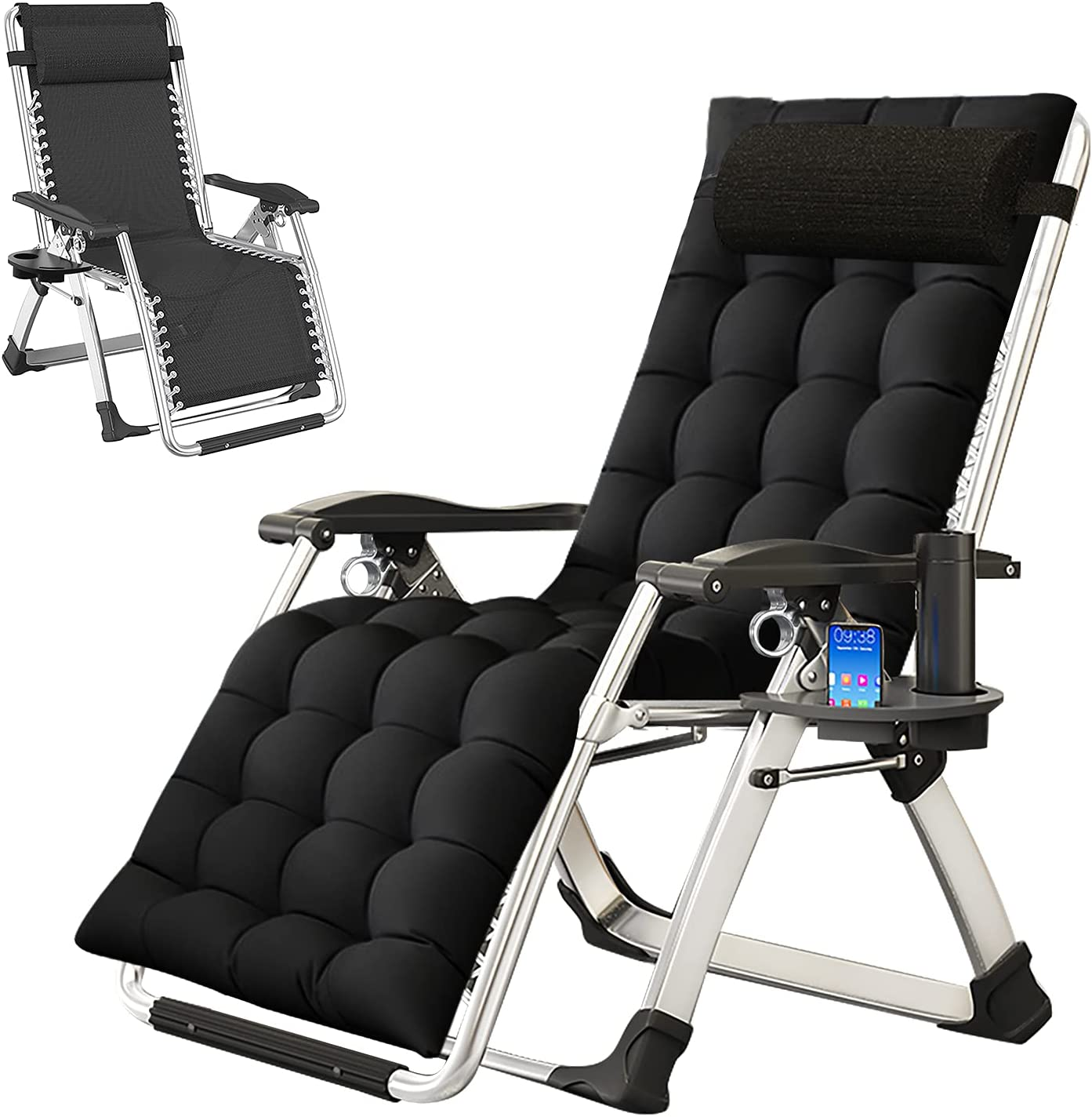 BarbellaPatio Chairs Zero Gravity Padded Max 76% OFF Recliner Tampa Mall Lounge Chair