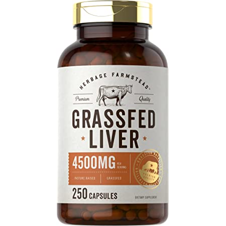 Grassfed Beef Liver Capsules 4500mg | 250 Count | Desiccated Supplement | Non-GMO, Gluten Free | by Herbage Farmstead