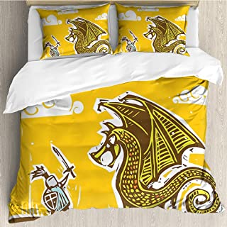 Suchashome Sketch Duvet Cover Set Knight in Armor with a Giant Dragon Cartoon Medieval Fantasy Tales Illustration Decorative 3 Piece Bedding Set with 2 Pillow Covers Multicolor Queen Size 89x89 inch