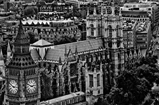 London Skyline View Big Ben and Westminster Abbey Black and White B&W Photo Photograph Cool Wall Decor Art Print Poster 36x24