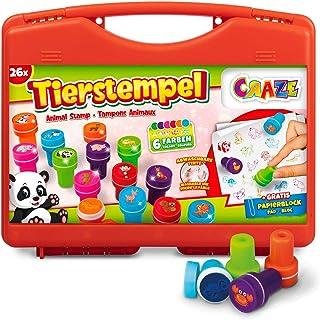 CRAZE étui 26 Enfants Set de Timbres Motif Animalier, Bloc de Papier Compris dans Un écrin-Encre Lavable 17784, Multicolore