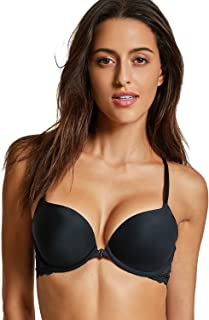 Women's Front Close Bra Underwired T-Shirt Padded Push Up Bra Plunge