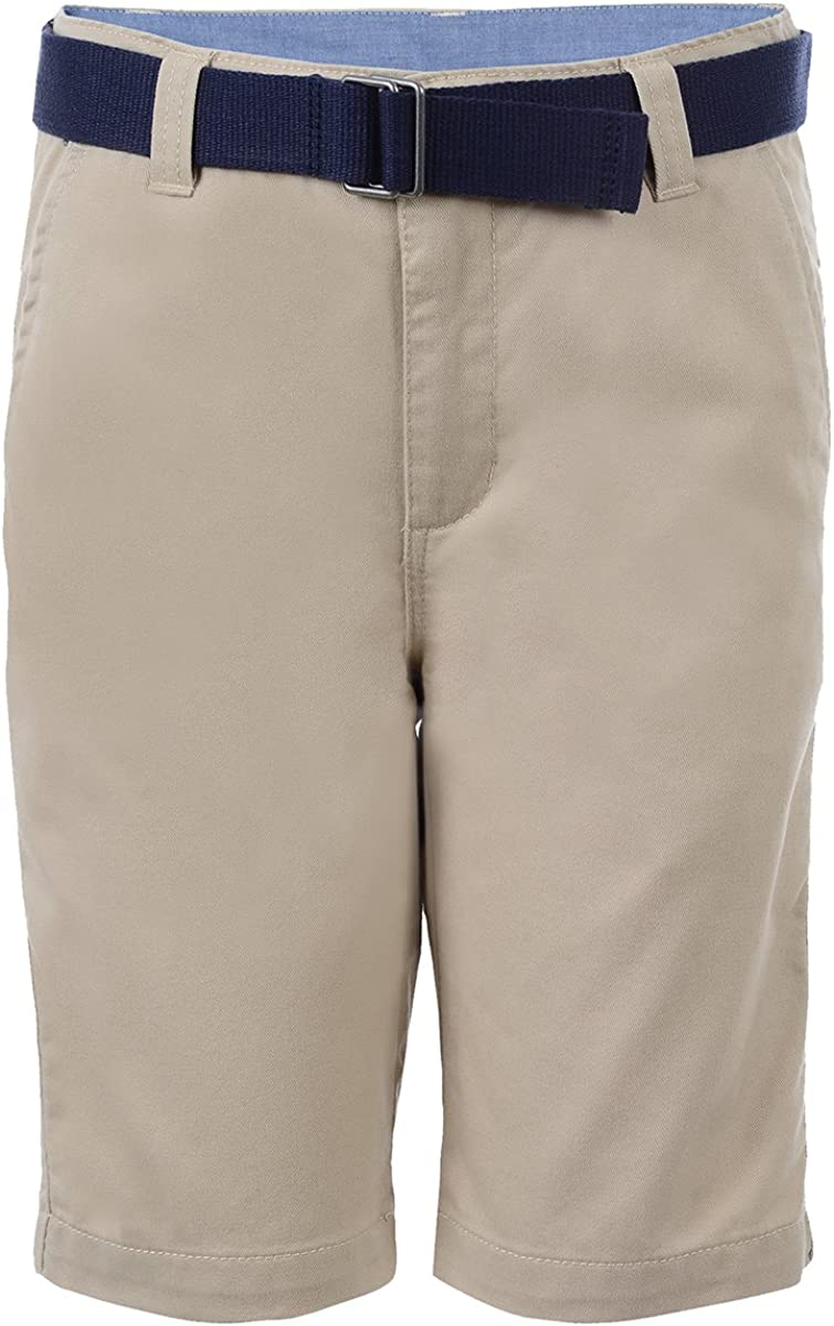 Chaps Boys' Belted Flat Front Shorts