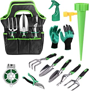 FAMI HELPER 16 PCS Garden Tool Sets - Gardening Kit with Self Watering System for Flower and Vegetable Plants Care, Garden...