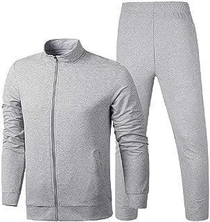 Mogogo Men's Stand Collar 2-Piece Long Sleeve Zip Pockets Vogue Sports Sweatsuit